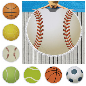 Round Sports Towel Baseball Football Beach Blankets Towels Summer Tassel Tapestry Polyester Bath Towel Picnic Rugs Yoga Mat GGA1990