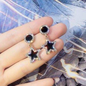 2020 moda Takı 925 ayar gümüş lüks tasarımcı takı bayan küpe tasarımcısı Küpe Barok Beş köşeli yıldız matkap Püskül Eari