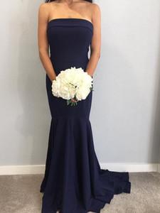 2019 neue ankunft billig bridesmaid kleider navy blau trägerlos bodenlangen falten mädchen der ängstlichen kleider robes de demoiselle d'honneur bm0341