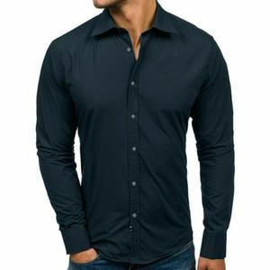 대형 사이즈 남성 비즈니스 캐주얼 긴 소매 셔츠 화이트 블루 블랙 스마트 남성 사회 드레스 셔츠 플러스