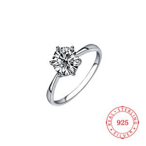 Mode Sterling Silber 925 Ring Schmuck Solitaire Big White CZ Diamant Engagement Hochzeit Damen Ring Silber Frauen Billig