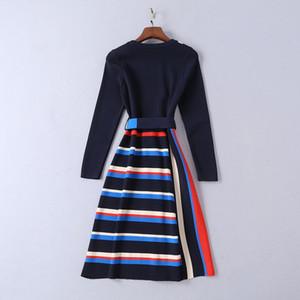 Moda-2019 Elbise 11903 uzun Kollu Mrmaid Kadınlar Tatil Elbise Marka Same Tarzı Sashes Milan Runway örme çizgili