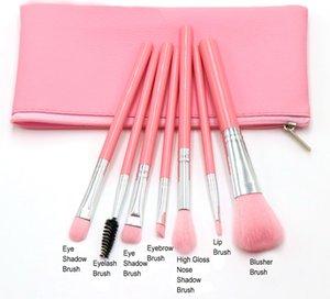 No MOQ Portable 7PCS Colorful Beauty Tools Nylon Eyebrows Lips Eyeshadow Eyelashes Set Brush Brushes Makeup