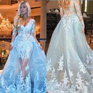 2020 Sexy Luz do Céu Azul mangas compridas Prom Dresses V profundo Neck apliques de renda Tulle sobre saia ilusão vestido de noite