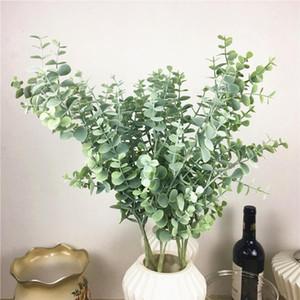 Plastic Eucalyptus filial flor artificial Arrangment Faux folha por sai de casa decoração de casamento verde da planta de Falso