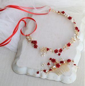 Dower me Acessórios floral vermelho cabelo nupcial Headband do casamento do ouro Comb cabelo Acessórios Mulheres Prom Headpiece Jóias