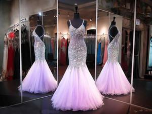 2020 lilla Bling Mermaid Prom Dresses Sweetheart spalline in rilievo di cristallo senza maniche Criss Cross Sweep Abito da sera del treno partito abiti