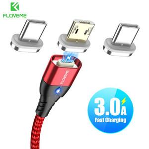 FLOVEME magnética Cable USB Micro teléfono tipo C para el cable de carga rápida 1M 3A Tipo de cable-C Imán cable cargador de teléfono