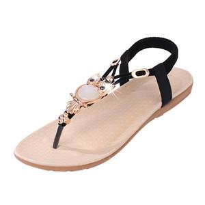 Moda kadın Ayakkabılar sandalet Bohemian Kadın slaytlar Baykuş Boncuklu Düz Klip Burun Sand Beach Toptan Ücretsiz Kargo