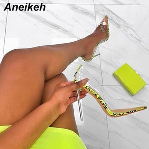 Aneikeh Kadınlar PVC Şeffaf Şeffaf Noktası Ayak parmakları ayakkabı Bayan Parti Elbise Ayakkabıları Y200323 Sandalet Perspex Heel Stilettos Yüksek Topuklu