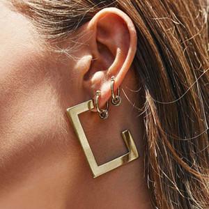 Nouveau design Boucles d'oreilles Déclaration d'argent d'or pour les femmes Minimaliste Ouverture Rectangle géométrique Boucles d'oreilles pendantes Bijoux cadeau