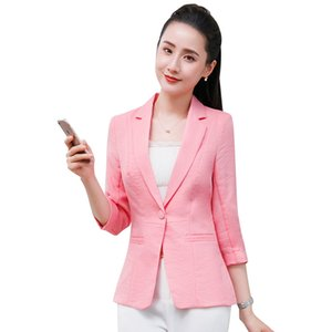Novelty Pink Half Sleeve Women Formal Blazers and Jackets Coat For Ladies Office Work Wear 2019 Spring Summer Tops Clothes
