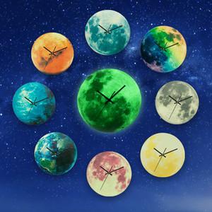 창조적 인 빛나는 달 벽 시계 글로우 행성 원형 벽 매달려 시계 거실 홈 장식