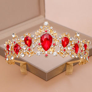Luxury Crystal Plant Bridal Tiaras Crown Alloy Rhinstone Big Crown Headband For Wedding Party Prom Pageant Hair Accessories