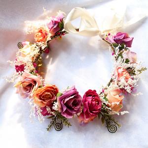 Brides Kranz Böhmen Art-Kind-Strand-Feiertag Haar-Accessoires Mädchen-Handgemachte Stereo Rose Simulation Blumen Garlands Favor RRA2352