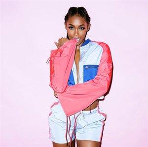 خليط اللون إمرأة رياضية مصمم الرباط كم طويل 2PCS السراويل يحدد الدعاوى فضفاض مثير السيدات عارضة