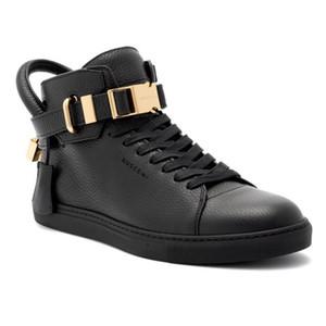 Hot Sale-gner Hombres Zapatillas de deporte negras Top de piel de vaca Moda Hombres Zapatos planos casuales cómodos Zapatos altos Zapatos de bloqueo Rojo / negro / Blanco