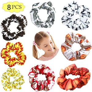 free shipping 8pcs pack sport football softball fun scrunchies inspired girl made of hair pattern for hair scrunchies