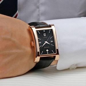 WWOOR Часы Men Top Brand Luxury Gold Black Square Часы для мужчин Кожа водонепроницаемый Дата Часы бизнес кварцевые наручные часы Box CX200805