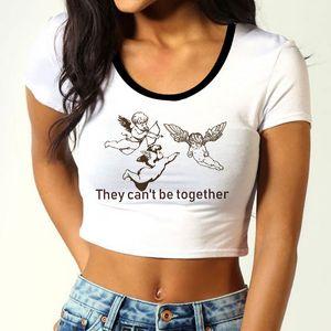 CZCCWD Women Clothes 2019 여름 그들은 함께 할 수 없다 Angel Shirt 패션 하라주쿠 Streetwear Vintage Aesthetic 여성 Tshirt