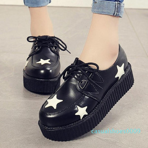 2020 hot new Casual Women Flat Platform Black Lace-Up Round Toe Creepers Flats Ladies Shoes Free Shipping c09