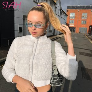 IAMHOTTY Shaggy Fashion Elegant Fuzzy Jacket Solid Long Sleeve Loose Teddy jacket Zipper Cardigan 2020 Winter Warm Soft Outwears