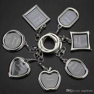 Mode Schlüsselanhänger mit Medaillon-Foto-Rahmen - 6 Form, Einsatz-Foto-Bilderrahmen-Schlüsselanhänger Schlüsselanhänger Schlüsselanhänger