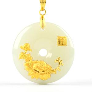 Hetian Jade Sicherheits-Knopf-Anhänger Jade Ping An Kou Halskette Liebhaber Glücksamulett 24K Goldschmuck Großhandel Chinese Fine Jewelry