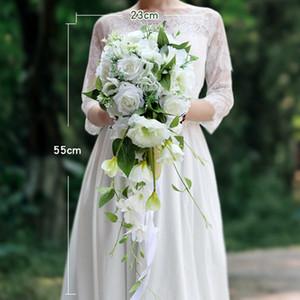 Brautsträuße, die Blumenstrauß der künstlichen Blume weiß-rosa handgemachte Wasserfall-Blumen für Brautjungfern-Weihnachtshochzeitsdekoration Wedding sind
