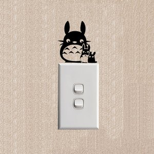 Totoro Funny Cartoon Cat Switch Stickers Decoration Fashion Wall Decal