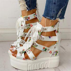 INS Sıcak 2020 Yaz Ayakkabı kadınlar Sandalet Platformu Shoelaces Yüksek Topuklar Casual Kadın Boş Dilimleri kadın ayakkabı yazdır