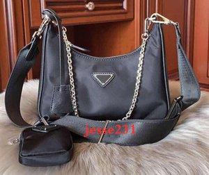 mulheres 2pcs / set bolsa de ombro waterproaf lona Nylon Peito pacote senhora bolsas de cadeias bolsas saco crossbody presbyopic bolsa mensageiro