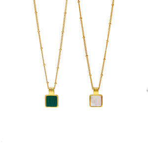 2019 Мода Новые Нежные Красивые Малахит маленькие квадратики ожерелье для женщин Charm любовь ожерелье оптовой продажи ювелирных изделий
