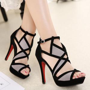 Vente en gros-Été noir sexy Femmes Sandales Mode À Bout Ouvert motifs géométriques plate-forme rouge bas talons hauts chaussures de fête 35-42