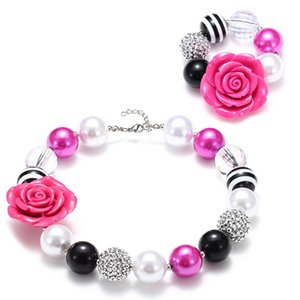 Free DHL Rose Beads Wrinkle Rhinestone Chunky Statement Princess Necklace and Bracelet Set for Chrild Girls 2 Colors