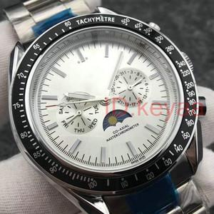 Bracelet Vitesse de pointe Lune mécanique Hommes en acier inoxydable Mouvement automatique Montre montres sport Montres-bracelets auto-vent