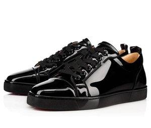 [Box+bag+card] Luxury Birthday Gift Mens Red Bottom Sneaker Junior Men's Flat Genuine Leather High Low Skateboard Shoes Sleek Black Wholesal