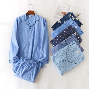 Homme Automne Hiver manches longues Pantalon Pyjama coton rayé turn-down col Pyjamas hommes Vêtements de sommeil hommes de nuit T200327