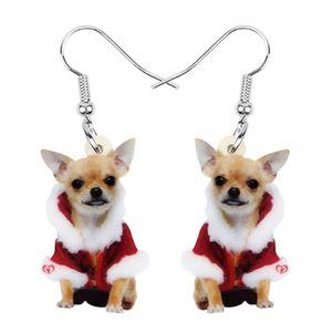 Acrylique Noël doux Chihuahua Dog Pendants d'oreilles Dangle Bijoux Animaux familiers Pour Femmes Filles Party Ados Accessoires Cadeau