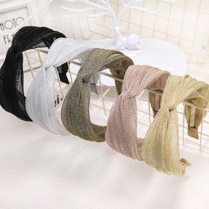 2020 New Glitter Mesh-Spitze-Haar-Band-Hauptband Shiny Querknoten Haarband für Frauen Twisted-Stirnband-Haar-Zusätze