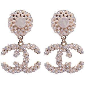 2020 best quality fashion designer hoop earrings women wedding earrings white pearl big earing flower earring
