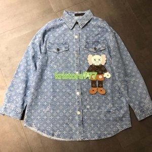 femmes haut de gamme fille chemise en jean partout patch poupée modèle lettre monogramme unique haut luxe design poitrine mode blouse tee manches longues