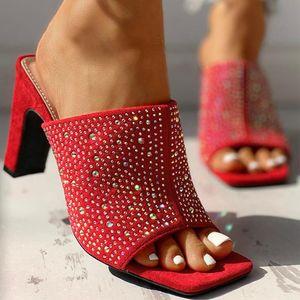Doratasia 2020 Dropship Seksi Yüksek Topuklu Kristaller Kadın Sandalet Yaz Ayakkabı Parti Katır Terlik