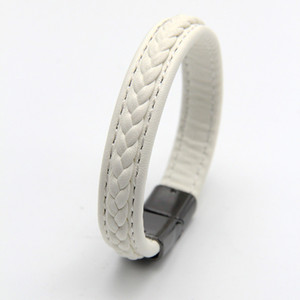 Bracelet Male Leather Braided New Fashion Handmade Bangles Magnetic buckle Bracelets Mens Solid Color Jewelry Gift Accessories