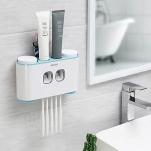 ECOCO Wall-mount porta-escovas Auto Espremendo Creme dental Dispenser Escova de dentes Pasta de dentes Copa do armazenamento do banheiro Acessórios T200102