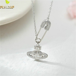 Flyleaf 925 Sterling Silber Pin Planet Zirkonia Halskette Frauen-Mode-Kette edlen Schmuck Simple Gold Halsketten-Anhänger