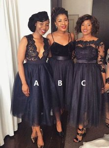 Bridesmaid Dresses Black Tulle Tea Length Sleeveless Maid Of Honor Dress Women Party Dress Gowns For Wedding