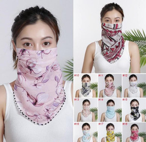 DHL Livraison! Femmes Foulard Visage Masque d'été en mousseline de soie Mouchoir extérieur coupe-vent visage Masques anti-poussière Pare-soleil en gros FY6129