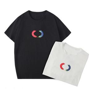 De lujo para hombre diseñador de la camiseta de impresión de letras manga corta cuell Negro blanco de la manera mujeres de los hombres de alta calidad de las camisetas