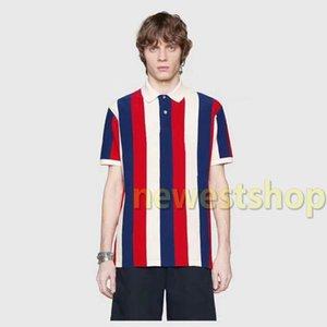2020 новый дизайнер роскошной одежды для мужчин классический полосатый синий красный лоскутная печать футболка Письмо печати футболка повседневная отложным воротником поло
